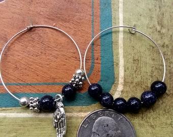 Blue goldstone hoops