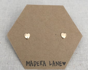 Tiny Heart Stud Earrings in Gold with Sterling Silver Posts