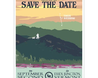 Vintage Summer Mountain Save the Date Postcard (set of 20)