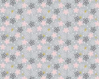 Believe - Gray & Pink Daisy Fabric - Sandra Clemons - Michael Miller - Sold by Half Yard