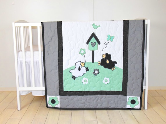 Baby Boy  Blanket, Lamb  Crib Quilt, Organic Sheep Blanket, Mint Green Black White and Gray Bedding