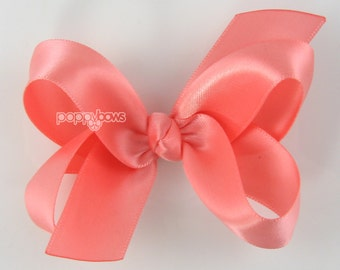 Coral Satin Hair Bow - Baby Toddler Girl - 3 Inch Boutique Hairbow on Alligator Clip Barrette Special Occasion
