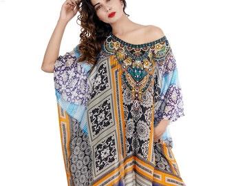 Women fashion 100% silk kaftan maxi crystal embellished dress caftan 209