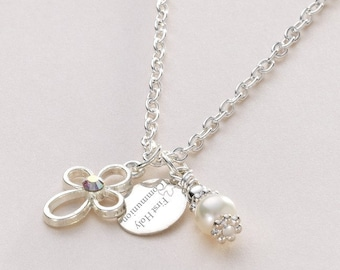 Personalised Girls First Holy Communion Necklace with Open Cross and Engraved Tag.