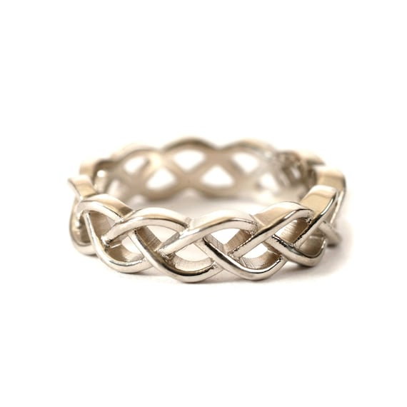 Sterling Silver Celtic Knot Ring, Unique Wedding Band, Wedding Band Men, Celtic Wedding, Celtic Eternity Ring,  Made in Your Size CR-221