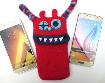 "Smartphone monster ""Senta"", knitted, felted, Mobile, Samsung Galaxy S7 Edge, Samsung Galaxy S8, bag, sleeve, mobile phone monster, felt"