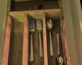 Handmade wooden silverware storage
