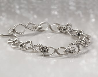 Boho Bracelet, Personalized Bracelet, Infinity Bracelet, Sterling Silver Bracelet, Chain & Link Bracelet, Gifts for Women, Don Biu Silver