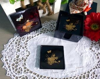 Beautiful Japanese black lacquered coasters box
