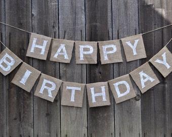 Happy Birthday Burlap Banner - Happy Birthday Banner - Birthday Banner - Burlap Birthday Banner - Happy Birthday Bunting - Birthday Garland
