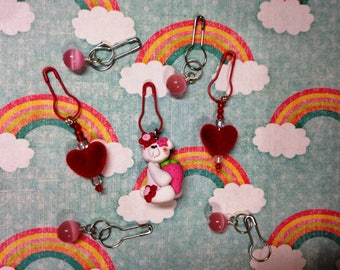 Set of Convertible Knitting and Crochet Stitch Markers in Valentine Love Bear