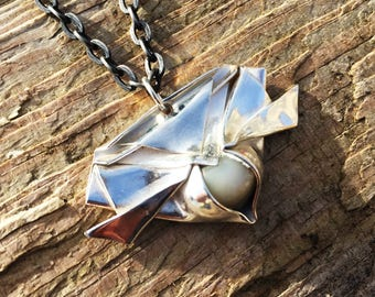 Origami Pendant With Moonstone
