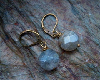 Simple labradorite and bronze earrings
