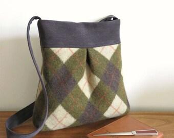 Olive Green and Brown Argyle BELLA Handbag, Upcycled Wool Sweater Purse, Shoulder Bag