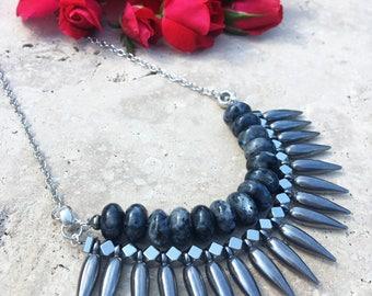 genuine labradorite spike necklace gemstone spike necklace free shipping gunmetal spike statement necklace labradorite statement necklace
