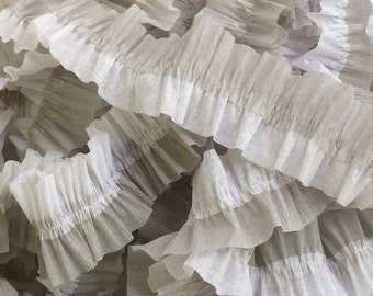 White and Gray Ruffled Crepe Paper Streamers - 36 feet - Party Decor Hanging Decorations Supplies
