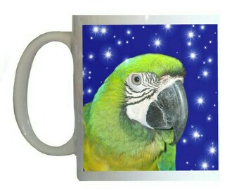 Hybrid Macaw Parrot Stars Blue Background White 11oz Ceramic Coffee Mug