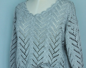 fabulous greyish blue cotton pullover, jumper, sweater, size S / M