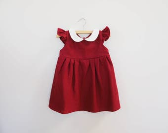 Red Dress Girl Baby & Girl Toddler, Girls Red Dress, Burgundy Red Linen Dress, 1st Birthday Outfit, First Christmas, Baby Christmas Outfit