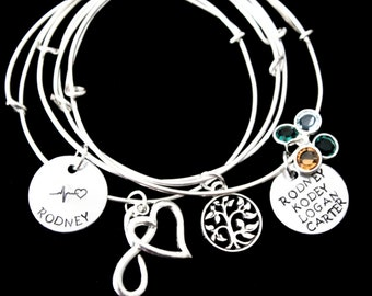 Design Your Own bracelet Bangle / Stackable Bangles / Choose Your Own Charms / Silver Bracelets