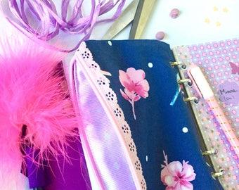 Bustina pocket zippered filofax kikki-k Ring Planner Eyelet Cupcake Case flower