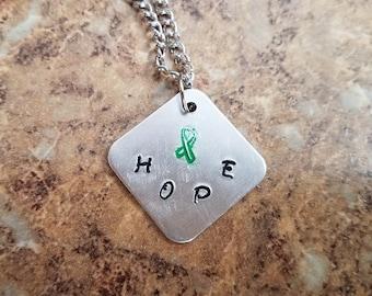 Custom Awareness Ribbon Hope Metal Stamped Aluminum Nickel Free Pendant