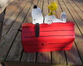 Handmade custom designed cartoon dog and bird  functional mailbox