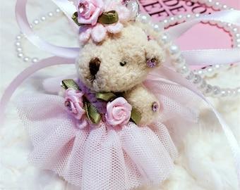 Teddy Bear Necklace, Princess, Medieval, Pink, Dress, Soft, Plush, Toy, Animal, Children, Collection, Vintage, wedding