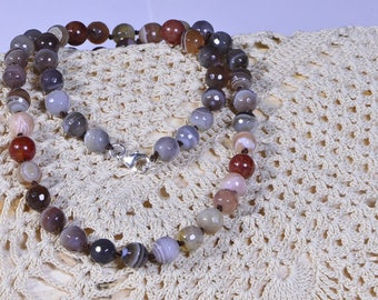 Agate Necklace Knotted Bead Necklace Long Necklace Gemstone Necklace Mala Necklace