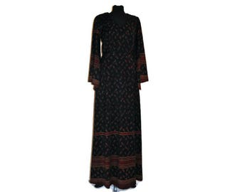 Vintage 1960's Black Maxi Dress // Border Print Maxi Dress UK 10/12