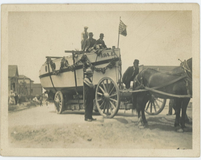 Vintage Snapshot Photo: Boat on Trailer, Early 1900s (611522)