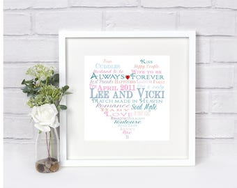 Personalised Love Heart Word Art Picture