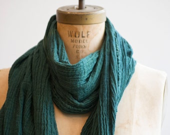 Forest Green Raw Organic Cotton Scarf