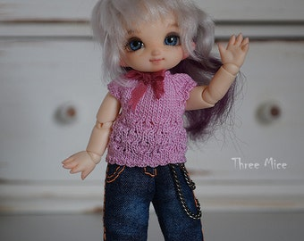 Pukipuki clothes: Pink knitted top and jeans for pukipuki, brownie,  11cm obitsu