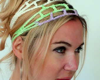 Boho Head Wrap Hippie Headband Cage Goddess Headband 100% Cotton Head Wrap Handmade Purple Lime Mix - or Choose Color