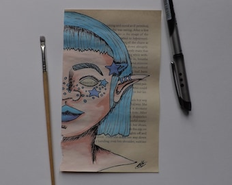 Upcycled book page Blue kawaii elf