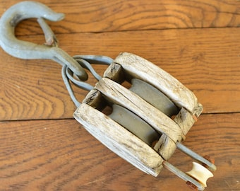 Antique Pulley, Wood and Iron Triple Pulley, Unique Lighting Hanger, Industrial, Farmhouse