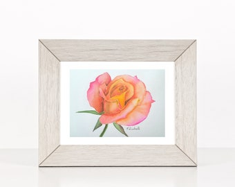 Rose, original painting, mini picture, gift idea for her birthday, romantic little image, ready to hang, bedroom or living room, watercolor.