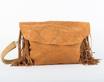 Large slouchy cross body fringed and hand embroidered leather boho bag