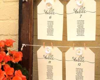 Wedding seating chart template, single hanging table charts, individual printable table plan   Wedding reception seating ideas, 5x7 and 6x4