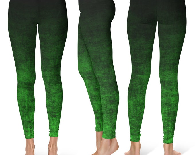 Green Ombre Leggings Yoga Pants, Grunge Yoga Tights for Women in Black and Green