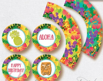 Luau toppers and wrappers . Luau Printables. Hawaiian printables. Luau party . INSTANT DOWNLOAD