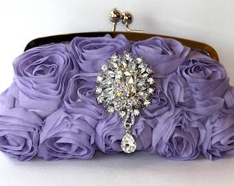 Lavender Silk Rosette Bridal Clutch with Swarovski crystals & pearls,Vintage Inspired Purse, Clutch, Purple Evening Bag, Lavender Purse