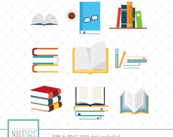 Bookclip art,School Booksclipart, vector  graphics,Library Booksclipart, Book clipart,  digital images