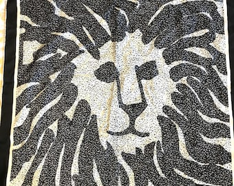 Vintage Anne Klein Silk Iconic Lion's Head Black And White Scarf