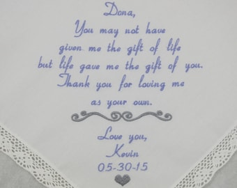 Wedding Gift for Step Mom of the Bride Personalized Handkerchiefs Embroidered by Napa Embroidery