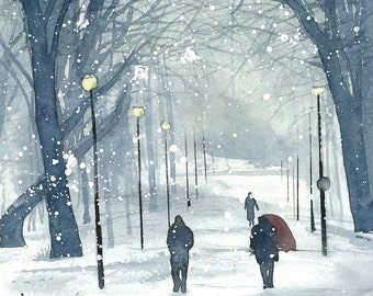 Edinburgh Winter Greeting Card - Meadows, Winter Day