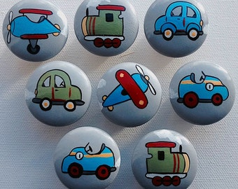 Vintage Vehicles Drawer Pulls Drawer Knobs / Baby Boy Nursery Decor / Vintage Train Vintage Car Art Vintage Plane Art Baby Boy Nursery