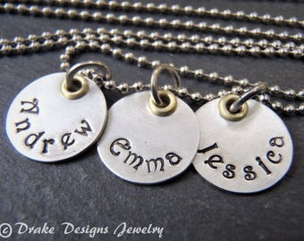 hand stamped custom name necklace. mixed metal personalized gift for mom