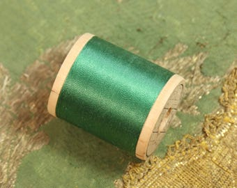 1 vintage pure silk thread 9784 spool blue aqua cool green shade 100 yards size A  antique sewing fly trying doll dress flapper millinery